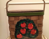 Vintage 1960s Caro Nan Wood Basket Purse Apple Tree