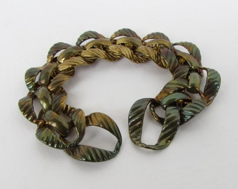 Vintage Brass Chain Bracelet Blank Finding Curb Fancy Link Embossed Aged Patina vfd0343 (1)