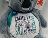 personalized baby gift, stuffed plush Koala Bear with name stuffed animal, koala, Embroider Buddy, keepsake embroidery best baby gift ever