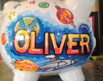 Personalized Piggy Bank OuterSpace Adventure Handpainted