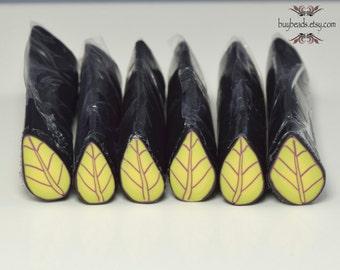 Polymer Clay Leaf Cane, Spring Green, Purple