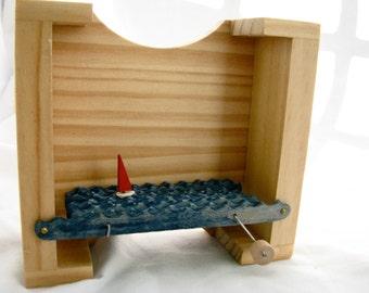 sailboat automaton, unique gift, nautical kinetic sculpture, small wooden box, beach art decor