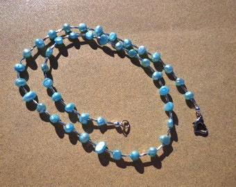 Pearl Necklace, Freshwater Pearls Dyed Aqua Blue with Silver Plated Spiral Tube Beads, 21 Inches, Organic Gemstone, Prosperity and Longevity