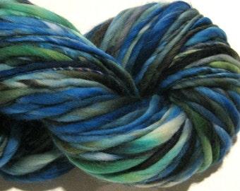 Handspun Yarn Eurydice 120 yards hand dyed merino wool blue yarn green yarn black yarn waldorf doll hair knitting supplies crochet supplies