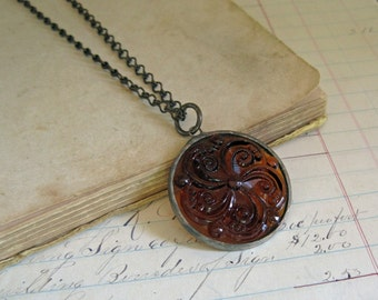 Stained Glass Jewel Necklace Brown Medallion Jewelry