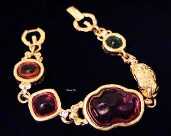 Vintage GIVENCHY Couture Gripoix Style Cabochon Bracelet
