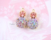 Iridescent AB Smoked Topaz & Rose Peach Swarovski Crystal 15x9mm Set Stones Vintage Bumpy Stones Earring Drops 1 Ring Brass Settings - 2