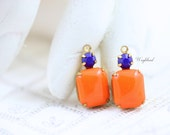 Vintage Glass Octagon Set Stone and Swarovski Crystal Tangerine Orange & Navy Blue 20x10mm Brass Prong Settings Drops - 2