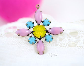 Yellow Opal Turquoise Blue & Pink Starburst Pendant Vintage Stones Swarovski Crystal Brass Setting 30mm