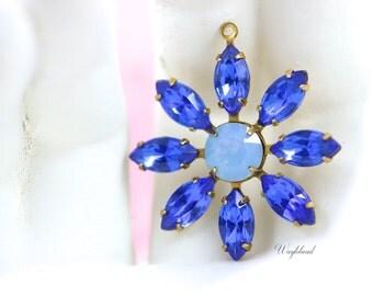 Rhinestone Daisy Flower Pendant Charm Vintage Set Stones Brass Setting Sapphire & Blue Opal - 30mm