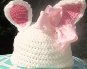 White Easter Pink Bow Bunny Ears Girls Crochet Beanie Hat GREAT PHOTOGRAPHY PROP
