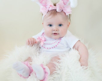 Spring Pink and White Pretty Pink Bow Easter Bunny Ears Stretch Headband GREAT PHOTOGRAPHY PROP Halloween Costume Prop