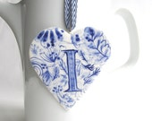 Sale -I - Monogram - Hand painted porcelain  Heart -  Blue and white Delftware - Dutch Personalized Gift / ornament