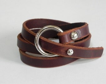 Leather Bracelet Wrap Leather Bracelet with Silver Tone O Ring in Brown