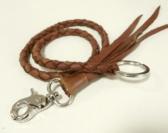 Brown Braid Leather Lanyard Leather Key ring Leather key Lanyard with Metal Hook and Key Ring