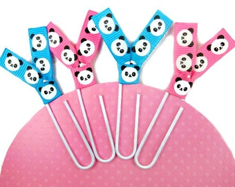 Panda Planner Clips Paper Clips Bookmarks Page Markers for Life Planners Panda Ribbon Planner Accessories - 4pc set