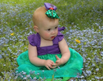 The Little Mermaid Hair Bow; Ariel Hair Clip; Disney Princess Baby Accessory; Handmade Inspired Bow; Baby Ariel Bow; Ariel Hair Bow; Disney