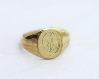 14K Gold Fill Signet Ring - Letter D - Size 2.5