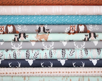 Hello, Bear, Fabric, Bundle, Blue, Mint, Gray, Black,Brown, Deer, Baby, Boy, Girl, FREE SHIPPINGtoUS, Custom Cuts, Pick Your Fabrics, 8 yds