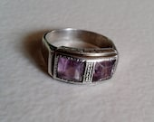 Silver Ring with Purple Stones