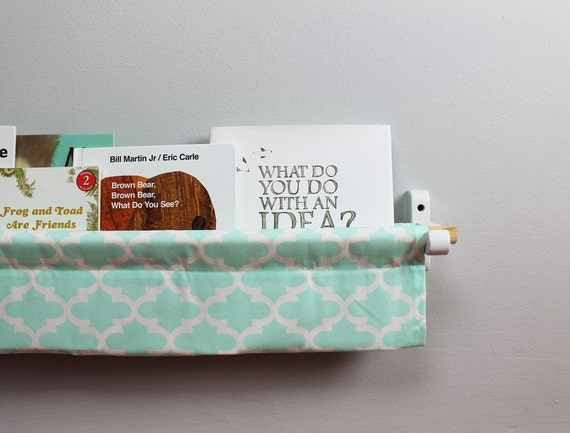 Book Sling - Mint and White Trellis Wall Organizer- Choose your size