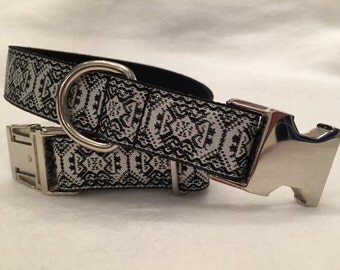 Silver Metallic Print Dog Collar, In Size L Only,  Nickel Side Release Buckle