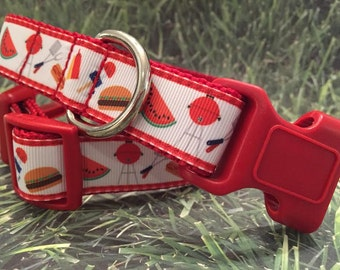Cookout BBQ Fun Summer Picnic Dog Collar, In M, L, XL, Choice of Webbing and Buckle