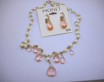 Faux Pearl & Pink Glass Necklace Earrings Set