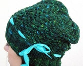 SALE 30% OFF - Hand Knit Slouch Hat, Cables & Lace, Cashmere Merino Wool, Forest Green, Turquoise Silk Ribbon