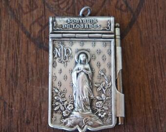 Antique French Lourdes Carnet de Bal Aide de Memoire Souvenir Pendant