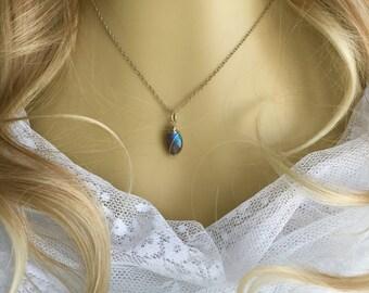 Labradorite Pendant, Gemstone Necklace, Sterling Gemstone Pendant