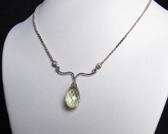 Lemon Quartz Necklace with Silver