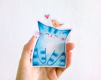 Blue Cat Magnet, Refrigerator Magnet, Fridge Magnet, Magnet, Cute Magnet, Illustrated Magnet, Cat Lover Gift - Happy Cat