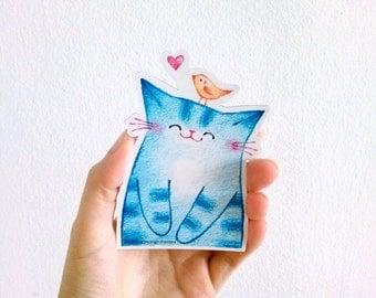 Blue cat magnet, Refrigerator magnet, Fridge magnet, Magnet, Cute magnet, Cat magnet, Cat Lovers Gift, Fun magnet, Happy Cat, magnet