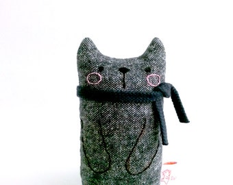 Desk Toy Cat Art Doll Black Cat With Scarf Miniature Doll Cat Plush Cat Toy Cat Gift For Cat Lover Cloth Cat Black Cat