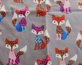 Zoology Collection, Lovely Floral Colorful Forest Woods Fox On Grey- Cotton Fabric (1/2 Yard)