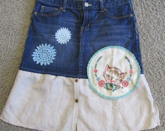 upcycled jean skirt girls large-14 vintage kitty doily refashion Old Navy shirt bottom