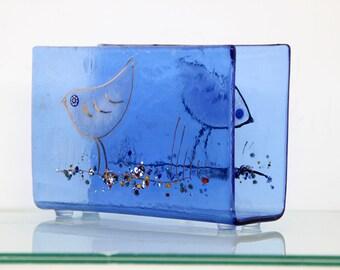 Glass Napkin holder  blue ocean gold fish Fused glass art .