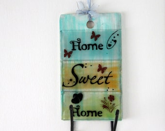 Home Sweet Home fused glass Wall Key Holder Display Rack, Accessories, Decor, Gift  Home, Housewarming Gift, Wedding Gift