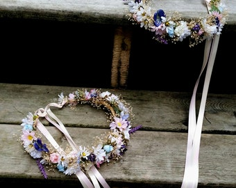 Mommy and Me Dried Flower Crowns Sister Set of 2 photo prop Mother Daughter blue hair wreaths portraits wedding accessories Made To Order