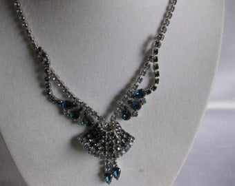 PRICE REDUCED  Vintage Royal and Light Blue Rhinestone Necklace