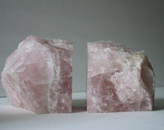 Pair of Rose Quartz Bookends Crystal