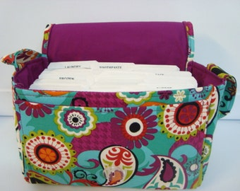 Super Size Coupon Organizer Holder - Attaches to Your Cart- Multi Color Teal Paisley
