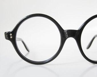 POP SALE Round 1960s Glasses Eyeglasses Black Shiny Womens Ladies Swan Optical Frames 60s P3 Nerdy Geek Chic 60s Sixties Midnight Noir Obsid