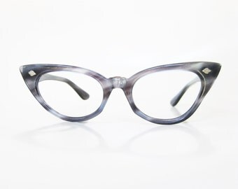 Vintage Blue Cat Eye Eyeglasses 1950s Womens Cateye Eyeglass Frames Dusty Cornflower Metallic Pearl 50s Fifties Mad Men Classic Ladies