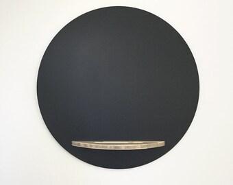 Modern Chalkboard - 28 Inch Diameter, Hanging, Beetle Kill Blue Pine Tray