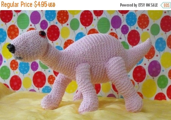 HALF PRICE SALE Instant Digital File pdf download knitting pattern - Baby Dinosaur Nursery toy animal pdf download knitting pattern
