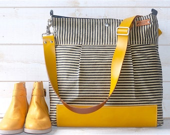 Waxed Canvas bag, Diaper bag, Messenger bag Striped Stockholm Black geometric nautical striped  Mustard Leather