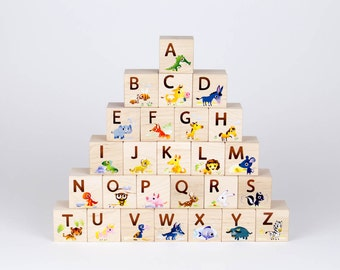 Cartoon Animal ABC Blocks - alphabet kid block toy