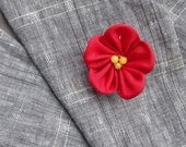 Red Boutonniere Silk Boutonniere Kanzashi Pin Mens Lapel Pin Flower Lapel Pin Red Lapel Flower Custom Lapel Pins Men Gifts For Men Wedding